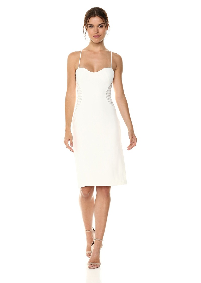 Halston Heritage Women's Sleeveless Slim Dress with Strip Applique