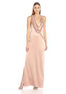Halston Heritage Women's Sleeveless Slip Gown with Draped Strip Detail