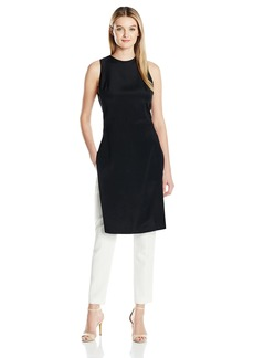 Halston Heritage Women's Sleeveless Square Neck Tunic with Multi Strip Detail
