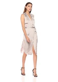 Halston Heritage Women's Sleeveless Tie Waist Shirt Dress with Pockets  Extra Large