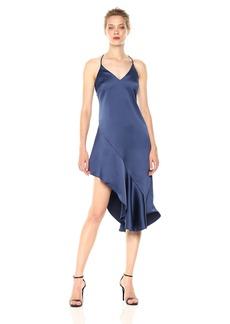 HALSTON HERITAGE Women's Sleeveless V Neck Asymmetrical Flounce Skirt Satin Dress