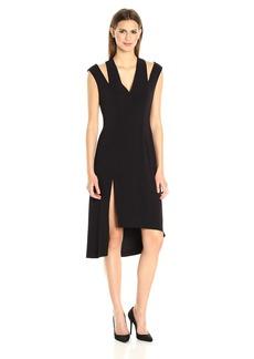 HALSTON HERITAGE Women's Sleeveless V Neck Asymmetrical Skirt Dress Slit Shoulder  M