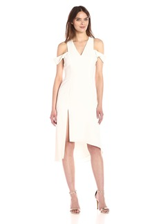 HALSTON HERITAGE Women's Sleeveless V Neck Asymmetrical Skirt Dress Slit Shoulder  XL