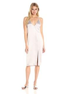 HALSTON HERITAGE Women's Sleeveless V Neck Cami Slip Dress with Cut Away