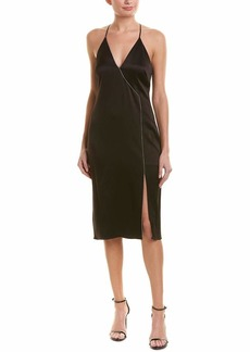 Halston Heritage Women's Sleeveless V Neck Cami Slip Dress with Cut Away