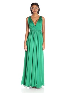 Halston Heritage Women's Sleeveless V Neck Chiffon Gown