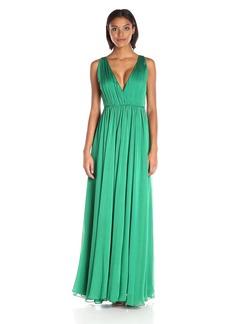Halston Heritage Women's Sleeveless V Neck Chiffon Gown