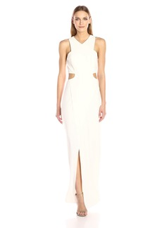 Halston Heritage Women's Sleeveless V Neck Crepe Gown with Side Cut Outs
