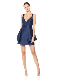 Halston Heritage Women's Sleeveless V Neck Dramatic Flounce Skirt Dress