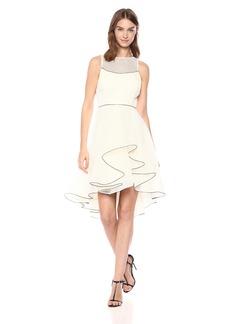 Halston Heritage Women's Sleeveless V Neck Dress with Dramatic Skirt
