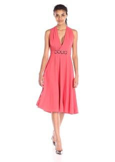 HALSTON HERITAGE Women's Sleeveless V Neck Dress with Draped Asymmetric Back and H.W Detail