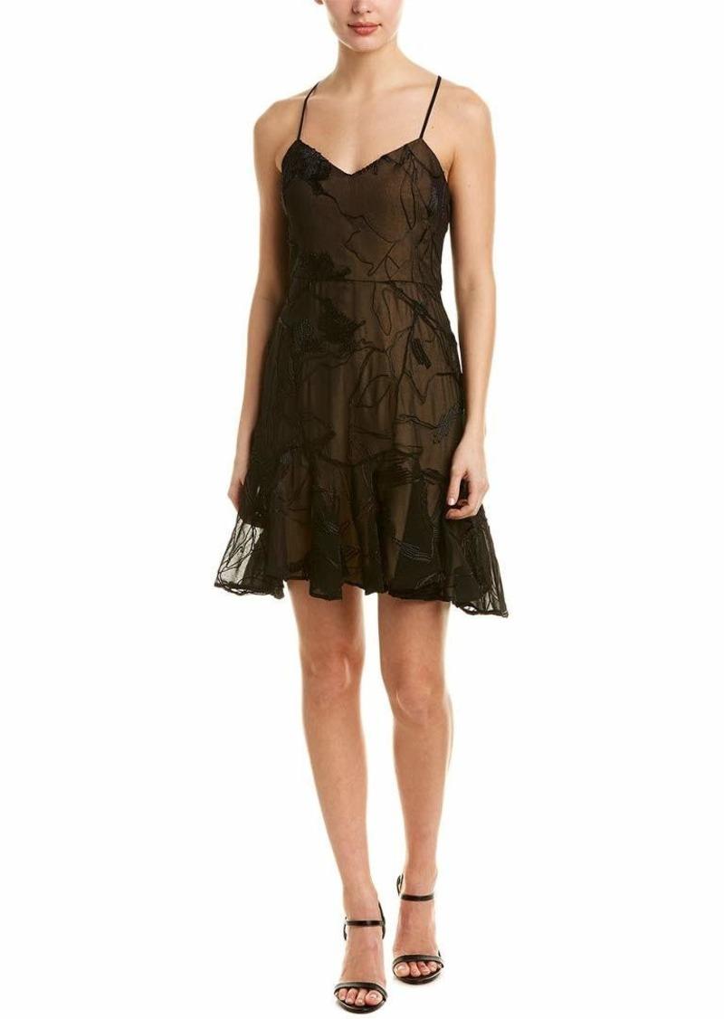 Halston Heritage Women's Sleeveless V Neck Embroidered Soutache Dress