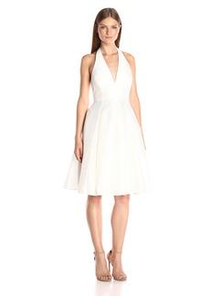 HALSTON HERITAGE Women's Sleeveless V-Neck Flared Skirt Jacquard Dress