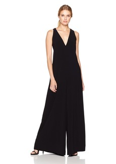 Halston Heritage Women's Sleeveless V Neck Flowy Jumpsuit with Back Sash  XL