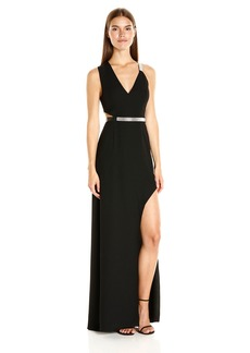 Halston Heritage Women's Sleeveless V Neck Gown with Multi Chain Strap