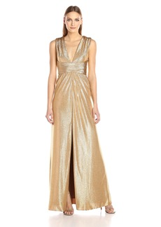 HALSTON HERITAGE Women's Sleeveless V Neck Jersey Gown with Wrap Tie and Front Slit  L