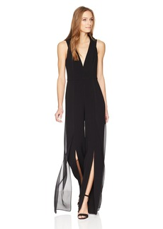 HALSTON HERITAGE Women's Sleeveless V Neck Jumpsuit with Chiffon Panels