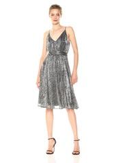 Halston Heritage Women's Sleeveless V Neck Lurex Jersey Dress