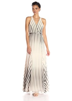 Halston Heritage Women's Sleeveless V Neck Placement Printed Gown Oyster/Black Cascading Stripe