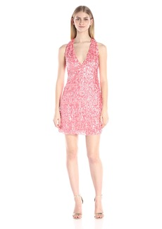 HALSTON HERITAGE Women's Sleeveless V Neck Racer Back Dress with Allover 3D Palette E