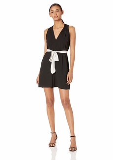 Halston Heritage Women's Sleeveless V-Neck Romper with Waist Sash  M