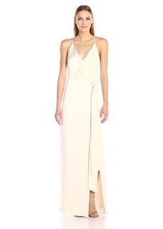 Halston Heritage Women's Sleeveless V Neck Satin Slip Gown with Sash