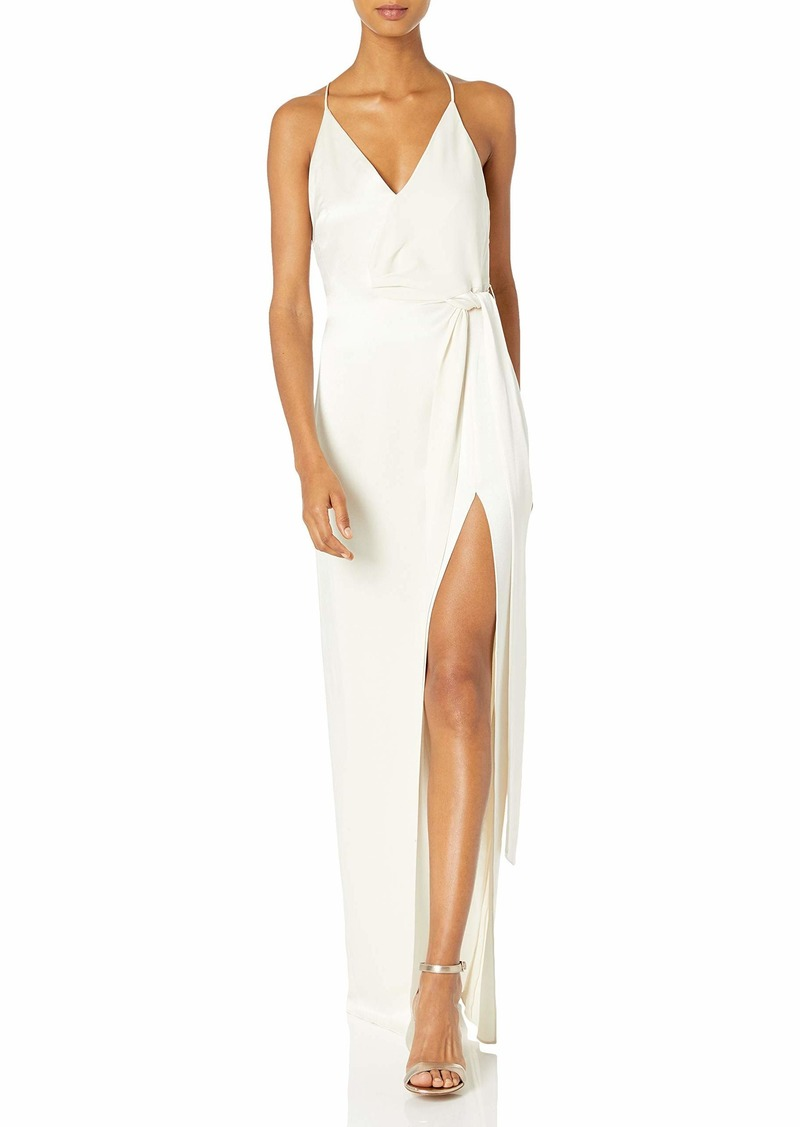 Halston Heritage Women's Sleeveless V Neck Satin Slip Gown with Sash