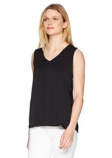Halston Heritage Women's Sleeveless V Neck Silk Top with Sheer Inserts