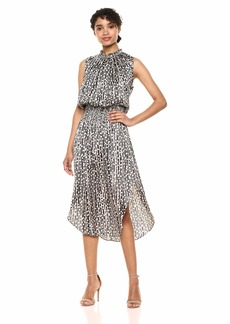 Halston Heritage Women's Sleeveless V-Neck Smocked Waist Printed Maxi Black/Buff Pixel Stripe M
