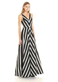Halston Heritage Women's Sleeveless V-Neck Striped Jacquard Gown