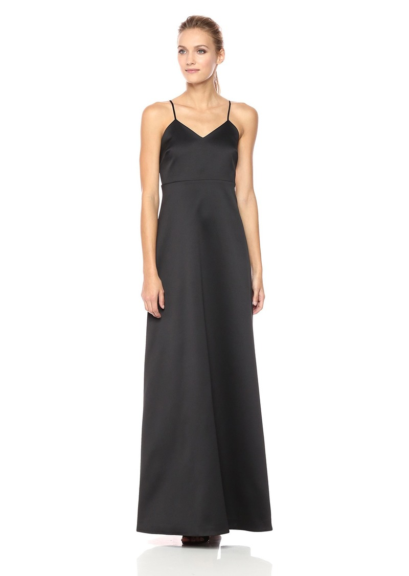 Halston Heritage Women's Sleeveless V Neck Structured Gown with Bow