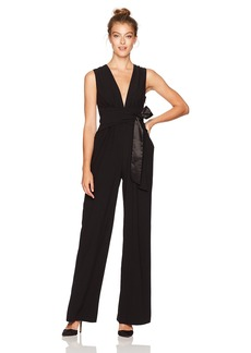 Halston Heritage Women's Sleeveless V Neck Wide Leg Jumpsuit with Wrap Tie