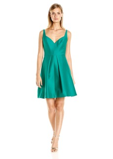 Halston Heritage Women's Sleeveless Wide Scoop Neck Structured Dress