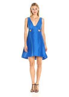 HALSTON HERITAGE Women's Sleeveless Wide V Neck Silk Faille Dress with Cut Outs
