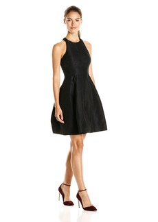 Halston Heritage Women's Sleeveless with High Neck Jacquard Structured Dress