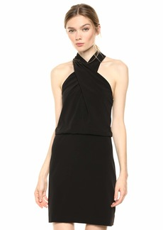 Halston Heritage Women's Sleeveless Wrap-Neck Fitted Dress