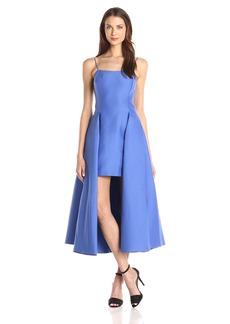 HALSTON HERITAGE Women's Sleevless Scoop Neck Strucured Dress with Skirt Overlay