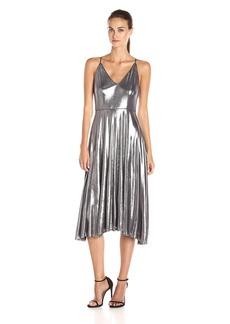 HALSTON HERITAGE Women's Sleevless Strappy V Neck Midi Dress