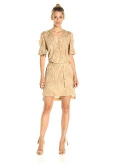 HALSTON HERITAGE Women's Ss Cold Shldr Wrap Midi Dress
