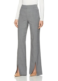 Halston Heritage Women's Straight Leg Suiting Pants with Front Slits