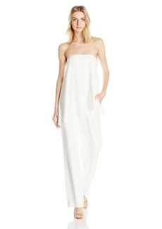 Halston Heritage Women's Strapless Asymmetrical Overlay Jumpsuit