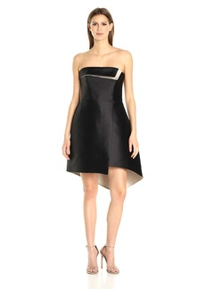 HALSTON HERITAGE Women's Strapless Color Blocked Structure Dress Black/Champagne