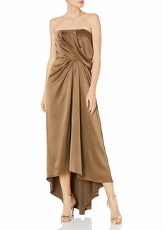 Halston Heritage Women's Strapless Draped Satin Gown