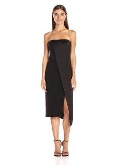 Halston Heritage Women's Strapless Dress with Asymmetrical Overlay