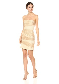 Halston Heritage Women's Strapless Fitted Layered Dress