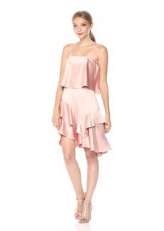 Halston Heritage Women's Strapless Flounce Skirt Satin Dress