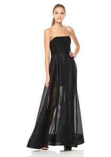 Halston Heritage Women's Strapless Gown with Sheer Striped Skirt