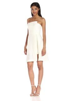 Halston Heritage Women's Strapless Jacquard Dress W Patent Lthr Belt