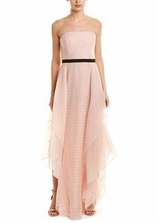 Halston Heritage Women's Strapless Jacquard Gown with Dramatic Skirt Detail
