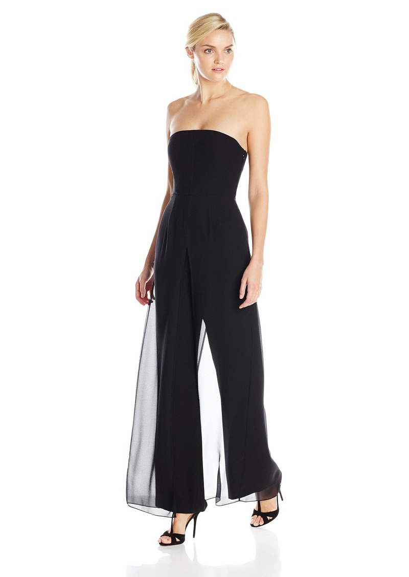 Halston Heritage Women's Strapless Jumpsuit with Flowy Pants
